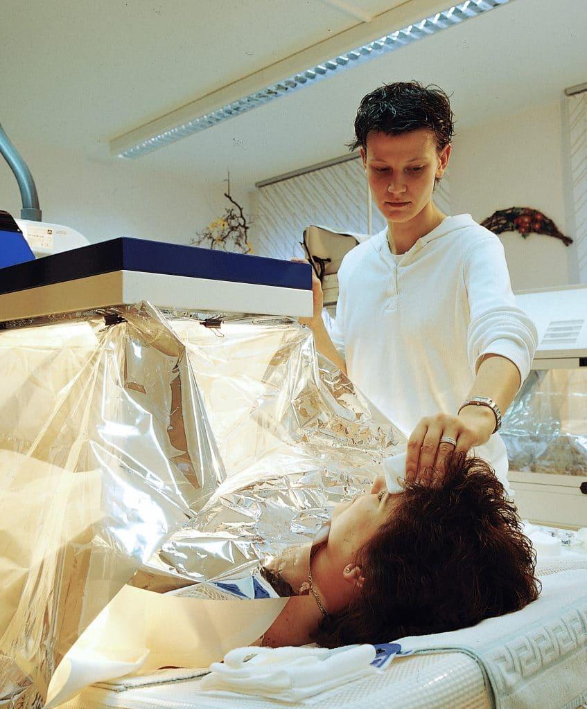 Hyperthermia therapy treatment on woman