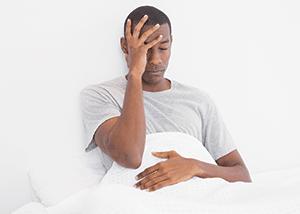 Man suffering from symptom of lyme disease